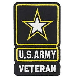 "MidMil Embroidered Army Veteran Patch with Star Emblem 2.6"" wide x 4.2"" high"