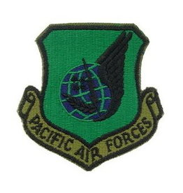 """MidMil Embroidered Subdued Pacific Air Force Command Shield Patch 3"""" Wide X 3"""" High"""