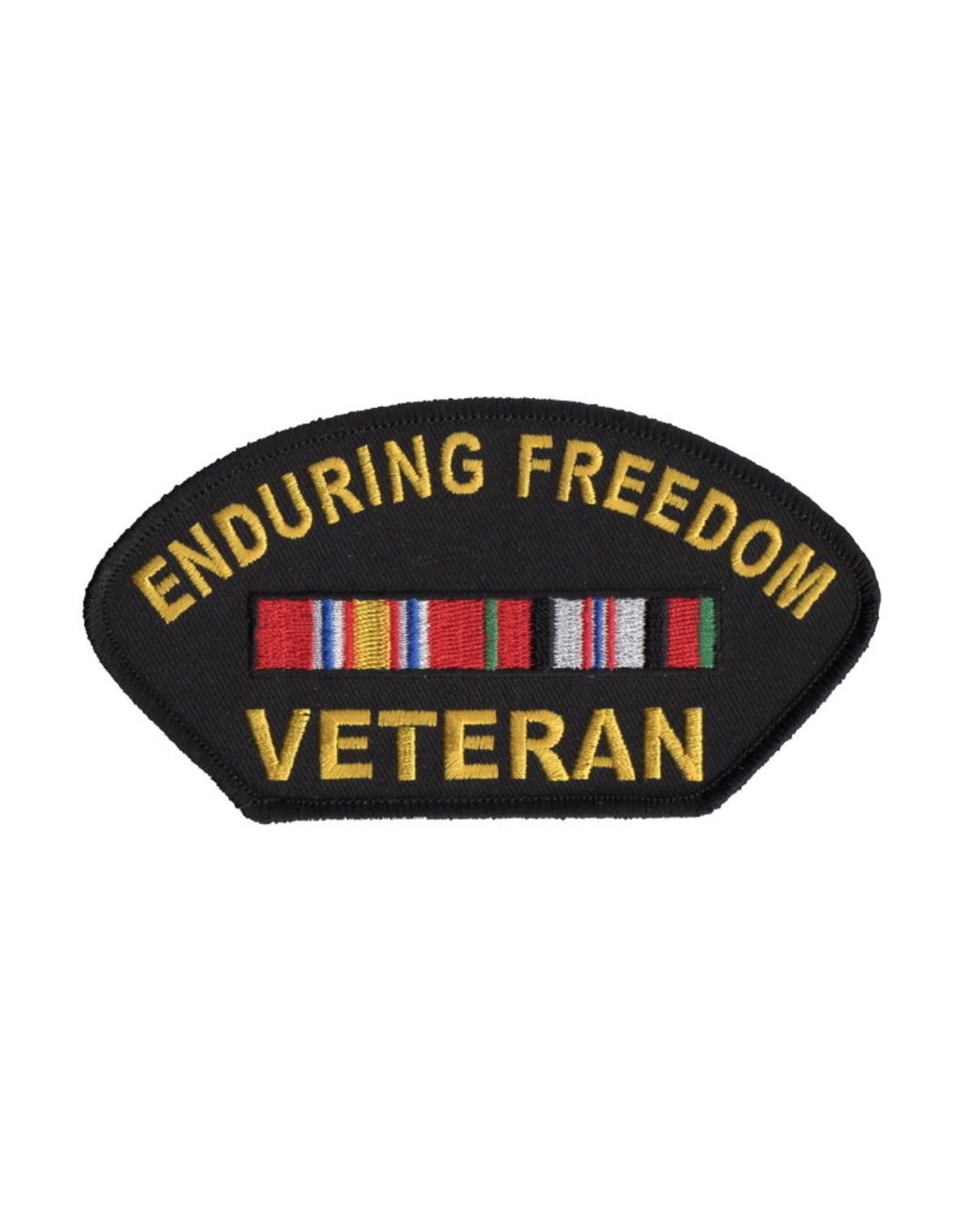 "MidMil Embroidered Enduring Freedom Veteran Patch with Ribbons 5.2"" wide x 2.8"" high"