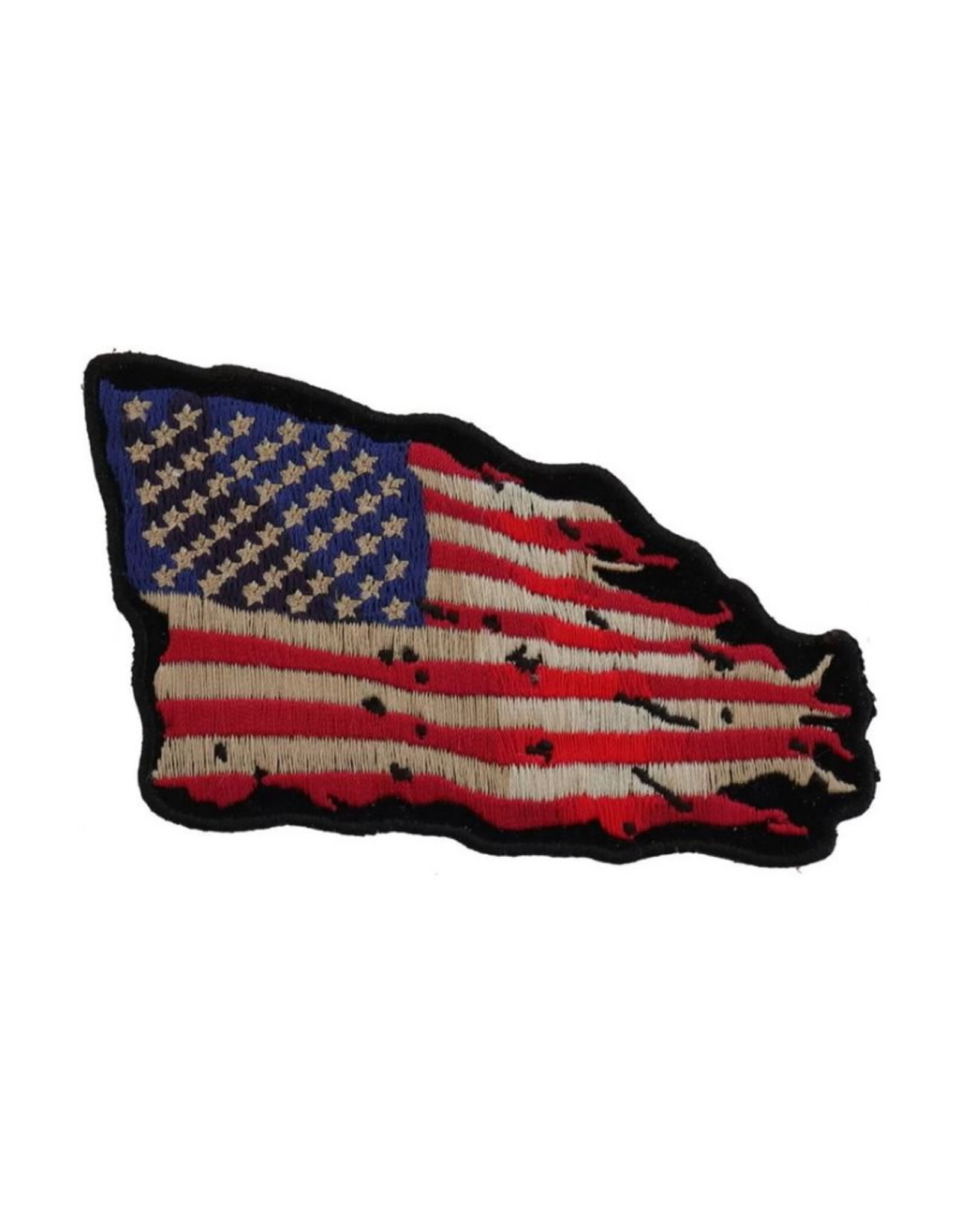 """MidMil Embroidered Tattered American Flag Patch 4"""" wide x 3"""" high"""