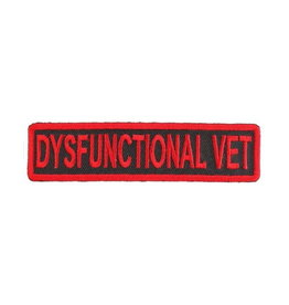"""MidMil Embroidered Dysfunctional Vet Patch 4"""" x 1"""" Red on Black"""