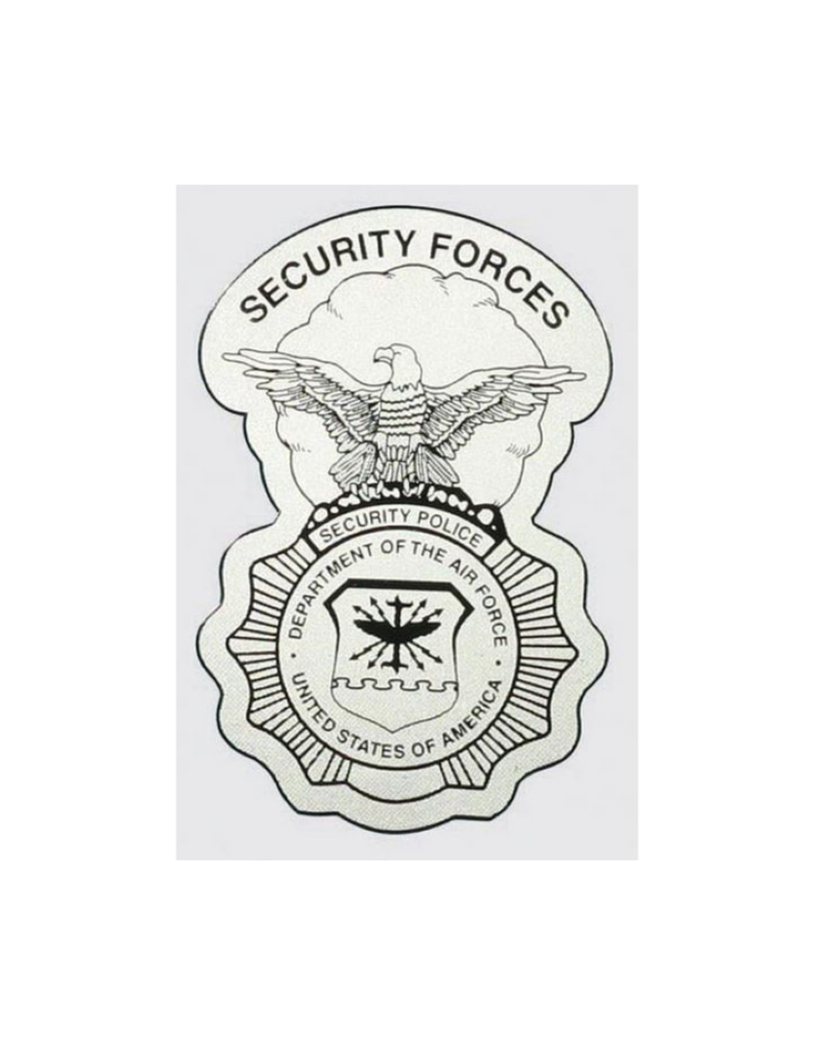 """MidMil  Air Force Security Police Decal 3"""" wide  x 4.5"""" high"""