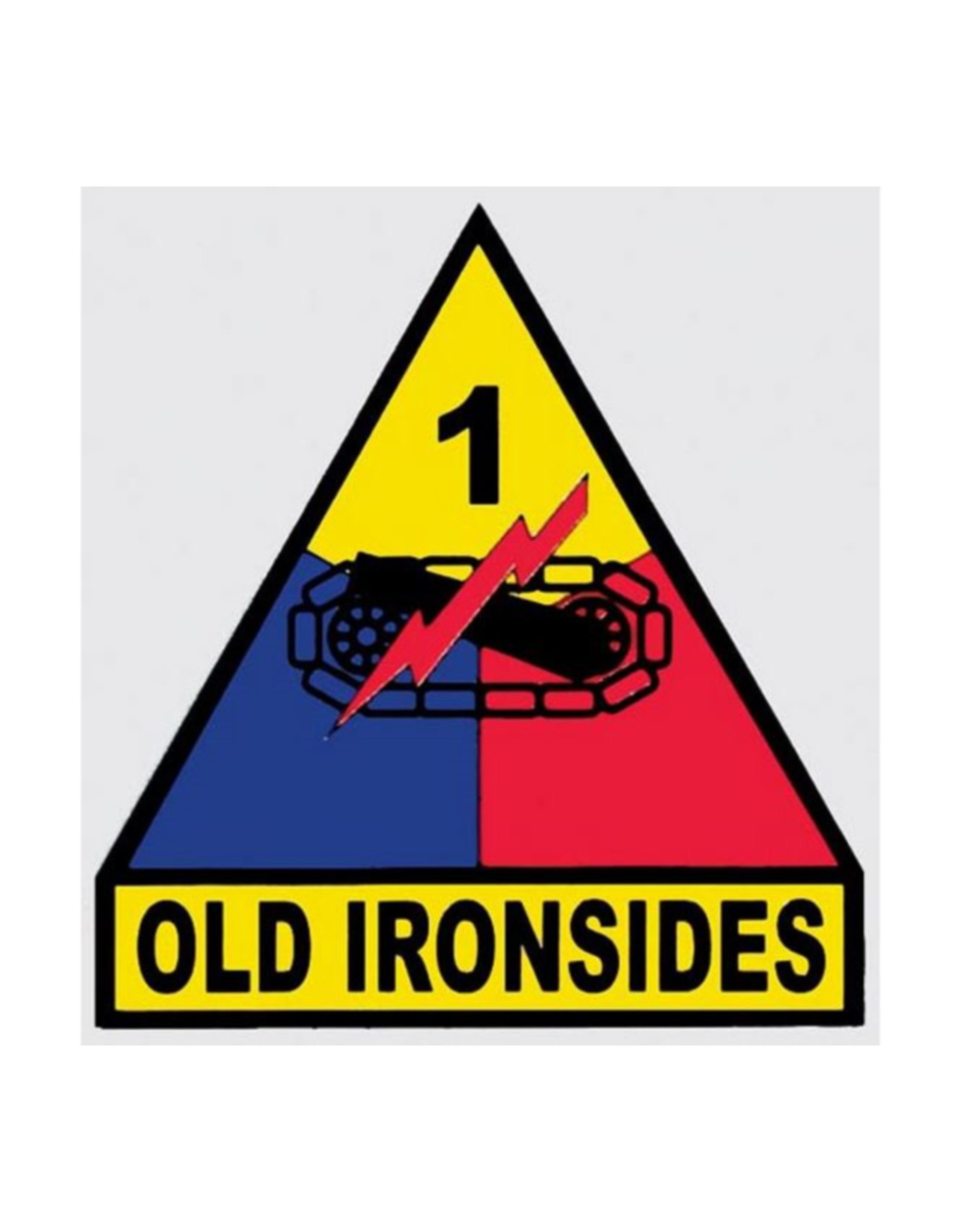 """MidMil Army 1st Armored Division Emblem Decal Old Ironsides 3.3"""" wide x 3.5"""" high"""