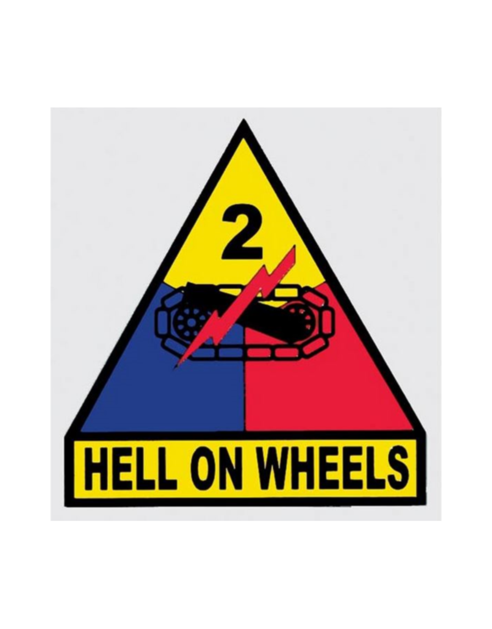 "MidMil Army 2nd Armored Division Emblem Decal Hell on Wheels 3.3"" wide x 3.5"" high"