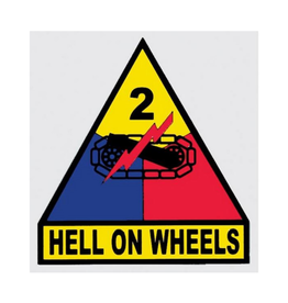 """MidMil Army 2nd Armored Division Emblem Decal Hell on Wheels 3.3"""" wide x 3.5"""" high"""