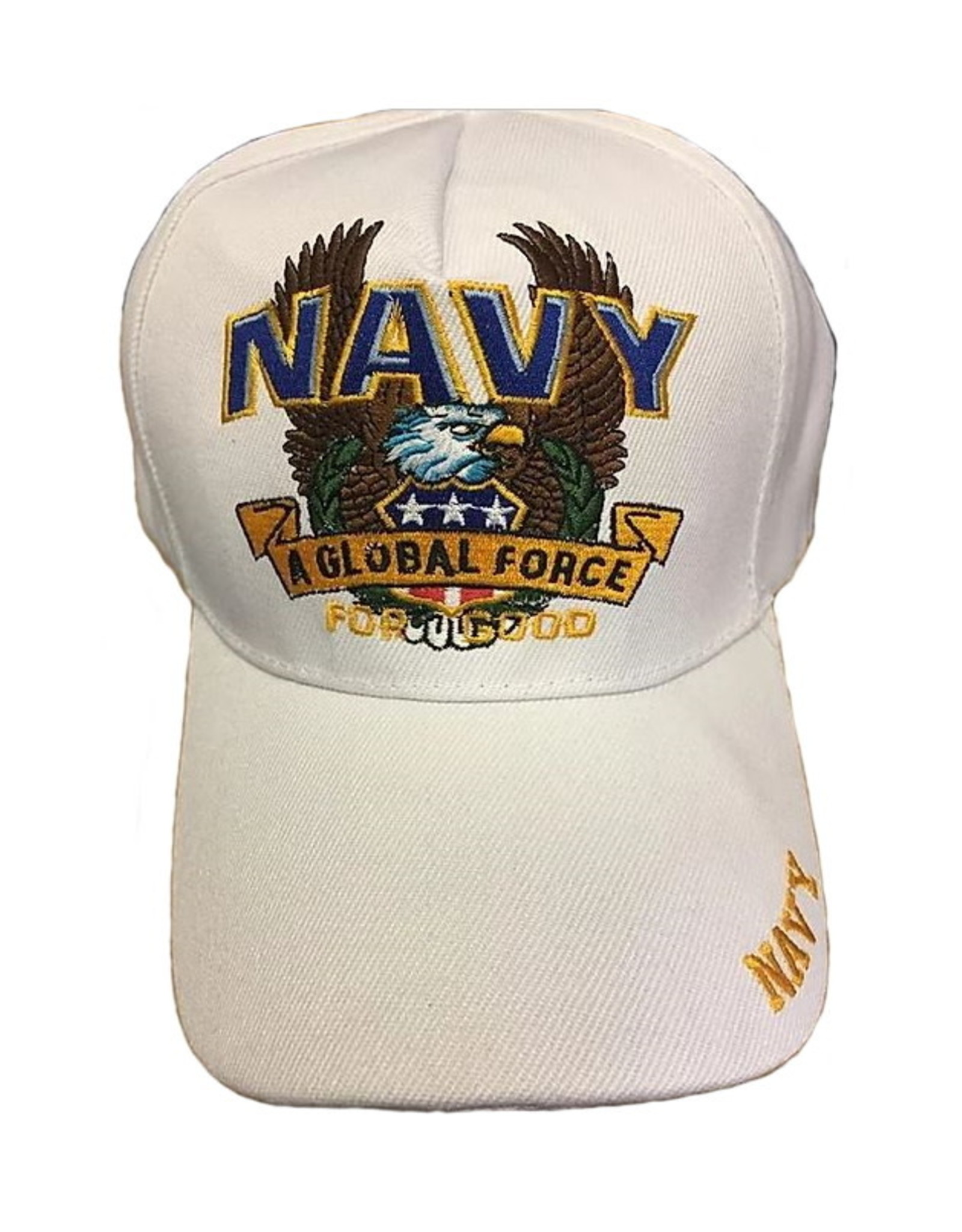 """MidMil Navy """"A Global Force"""" Hat with Eagle White"""