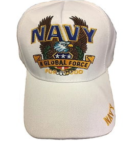 "MidMil Navy ""A Global Force"" Hat with Eagle White"
