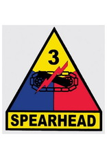 """MidMil Army 3rd Armored Division Emblem Decal Spearhead 3.3"""" wide x 3.5"""" high"""