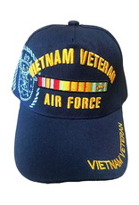 MidMil Air ForceVietnam Veteran Hat with Ribbons and Seal Dark Blue