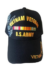 MidMil U.S. Army Vietnam Veteran Hat with Ribbons and Crest Shadow Black