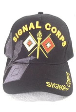 MidMil Army Signal Corps Hat with Emblem and Over Shadow Black