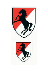 MidMil Army 11th Armored Cavalry Emblem Decal 2pc