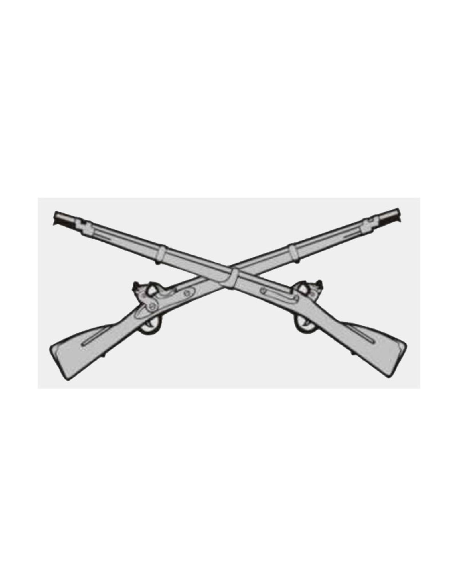 "MidMil Army Infantry Emblem (Crossed Rifles) Decal 4.7"" wide  x 2.3"" high"