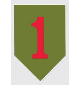 """MidMil Army 1st Infantry Division Emblem (Big Red One) Decal 2.7"""" wide x 4"""" high"""
