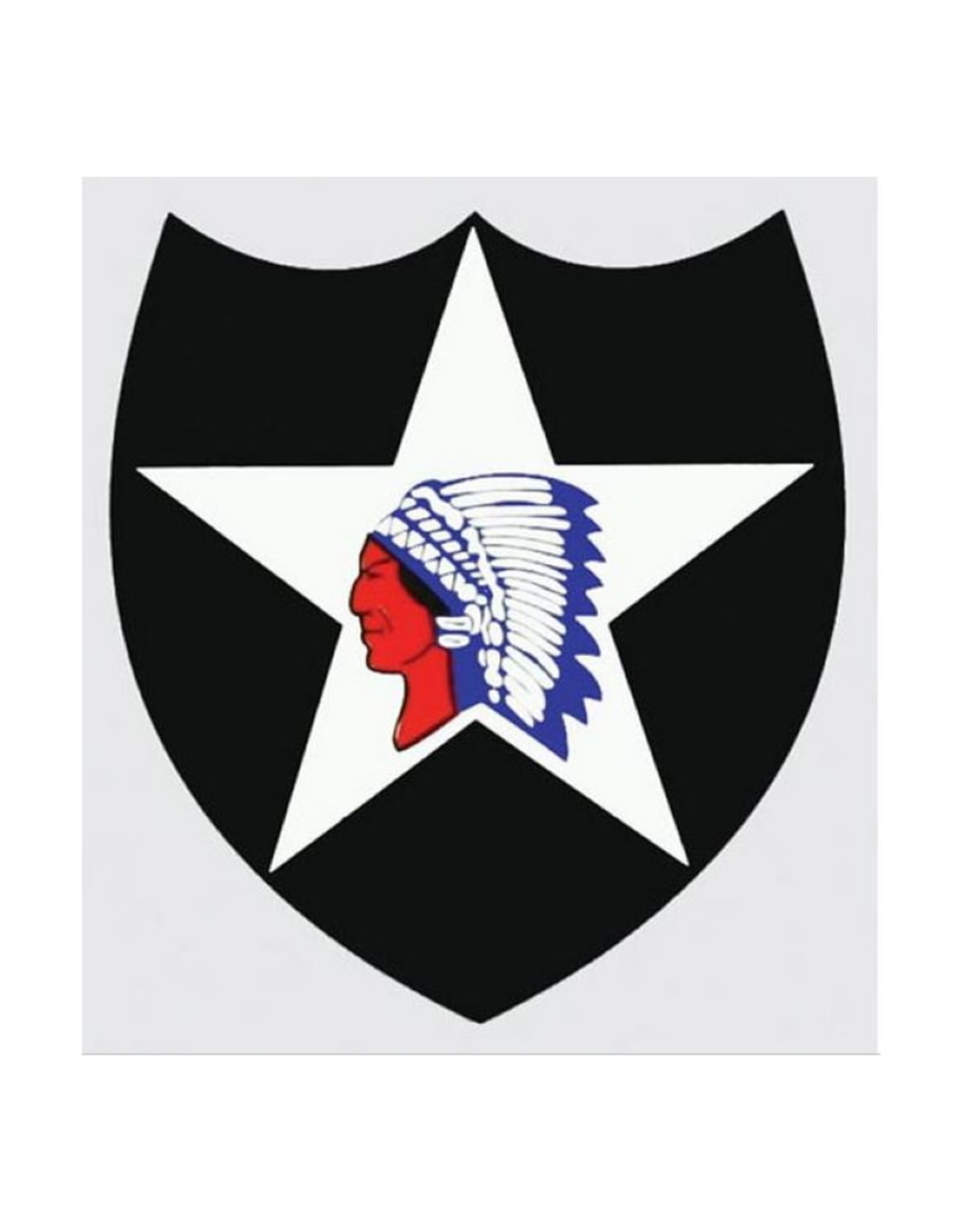 """MidMil Army 2nd Infantry Division Emblem Decal 3.2"""" wide x 3.6"""" high"""