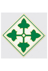 """MidMil Army 4th Infantry Division Emblem Decal 3.9"""" wide x 3.9"""" high"""