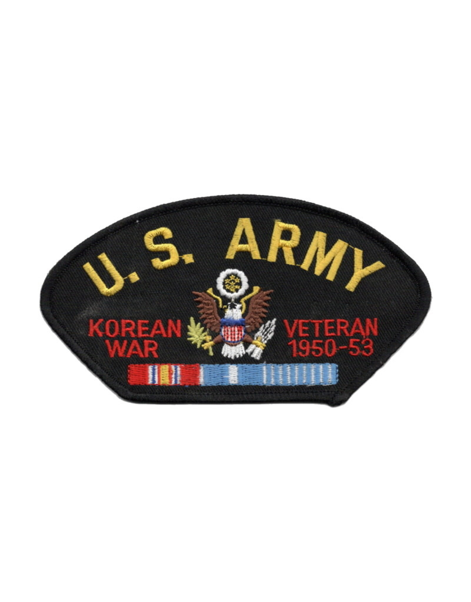 """MidMil Embroidered U.S. Army Korean War Veteran 1950-1953 Patch with Emblem and Ribbons 5.2"""" wide x 2.7"""" high Black"""