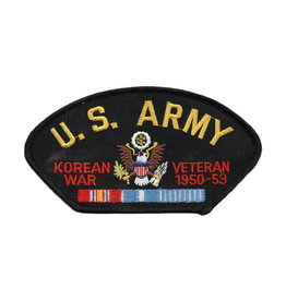 "MidMil Embroidered U.S. Army Korean War Veteran 1950-1953 Patch with Emblem and Ribbons 5.2"" wide x 2.7"" high Black"