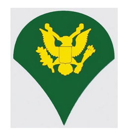"MidMil Army Spec 4 (E-4) Rank Decal 2"" wide x 2.3"" high"