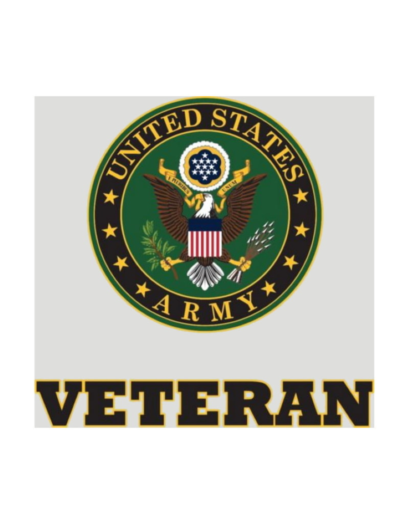 """MidMil Army Veteran Decal with Army Seal 3.7"""" wide x 3.5"""" high"""