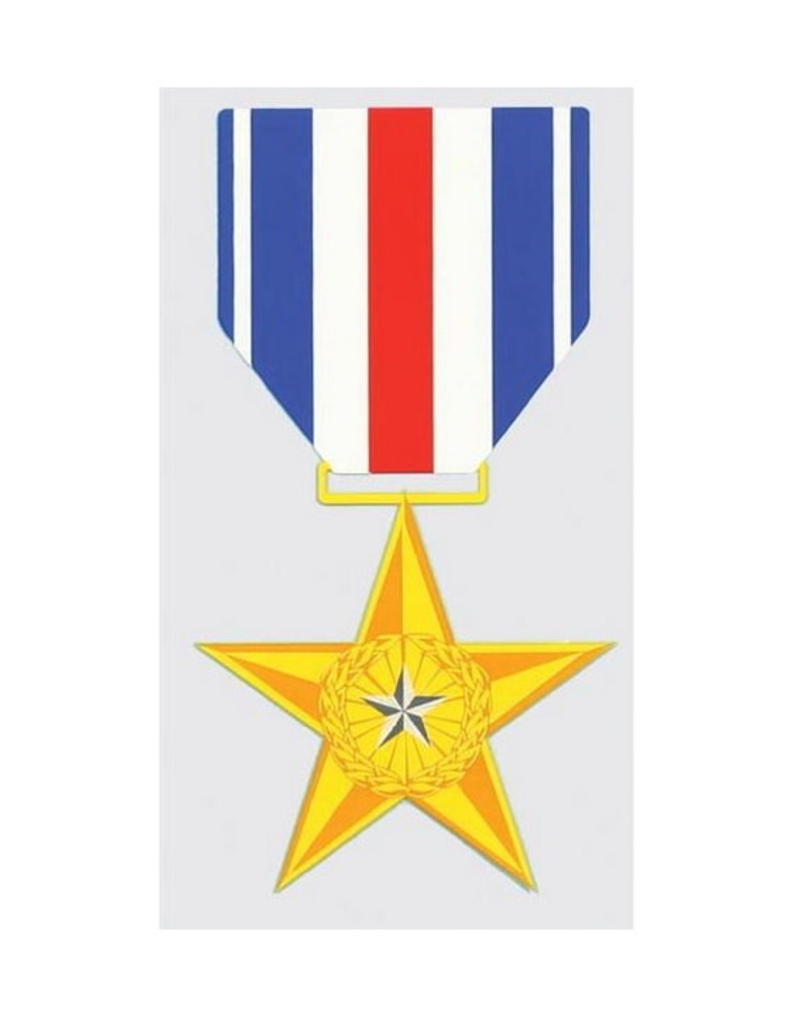 """MidMil Silver Star Medal Decal 2.8"""" wide x 5.2"""" high"""