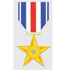 "MidMil Silver Star Medal Decal 2.8"" wide x 5.2"" high"