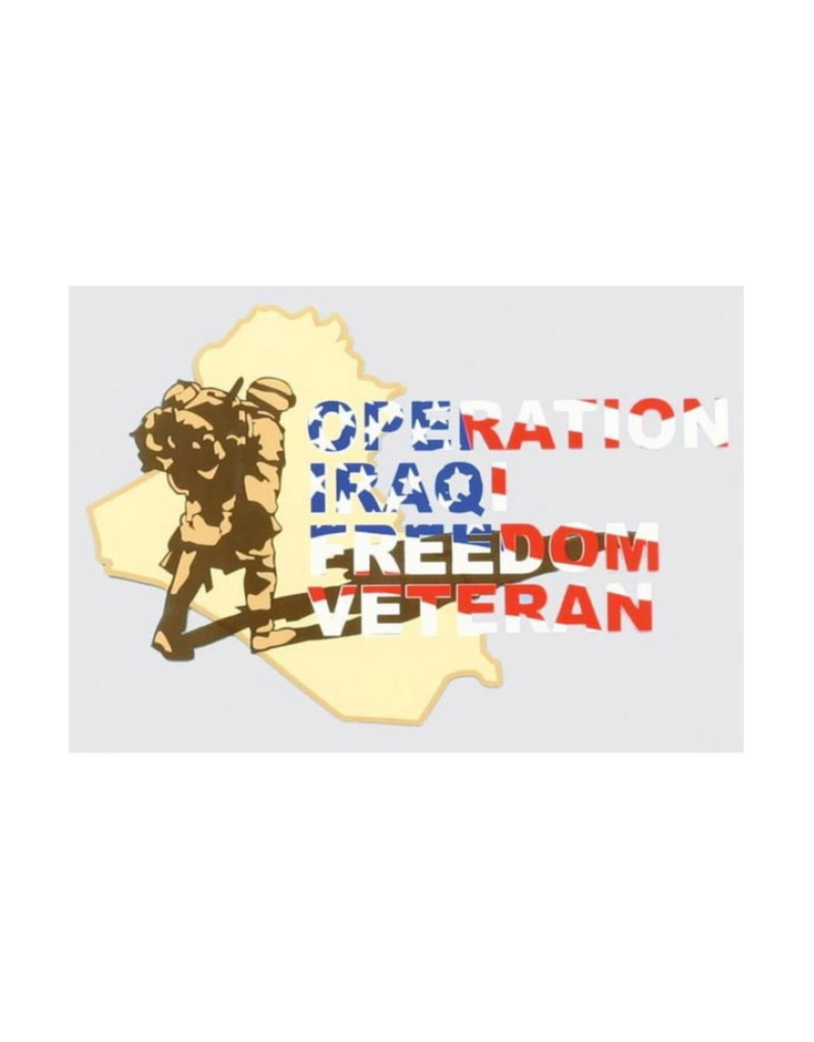 "MidMil Operation Iraqi Freedom Veteran Decal with Soldier on map 5.5"" wide x 3.5"" high"