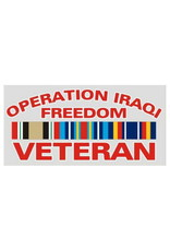 "MidMil Operation Iraqi Freedom Veteran Decal with Ribbons 5.5"" wide x 2.7"" high"