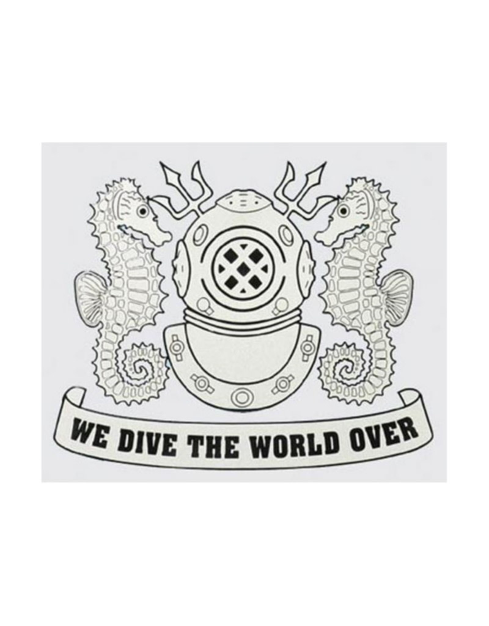 "MidMil Navy Diver Decal with Emblem and ""We Dive The World Over"" Motto 4.9"" wide x 4.1"" high"