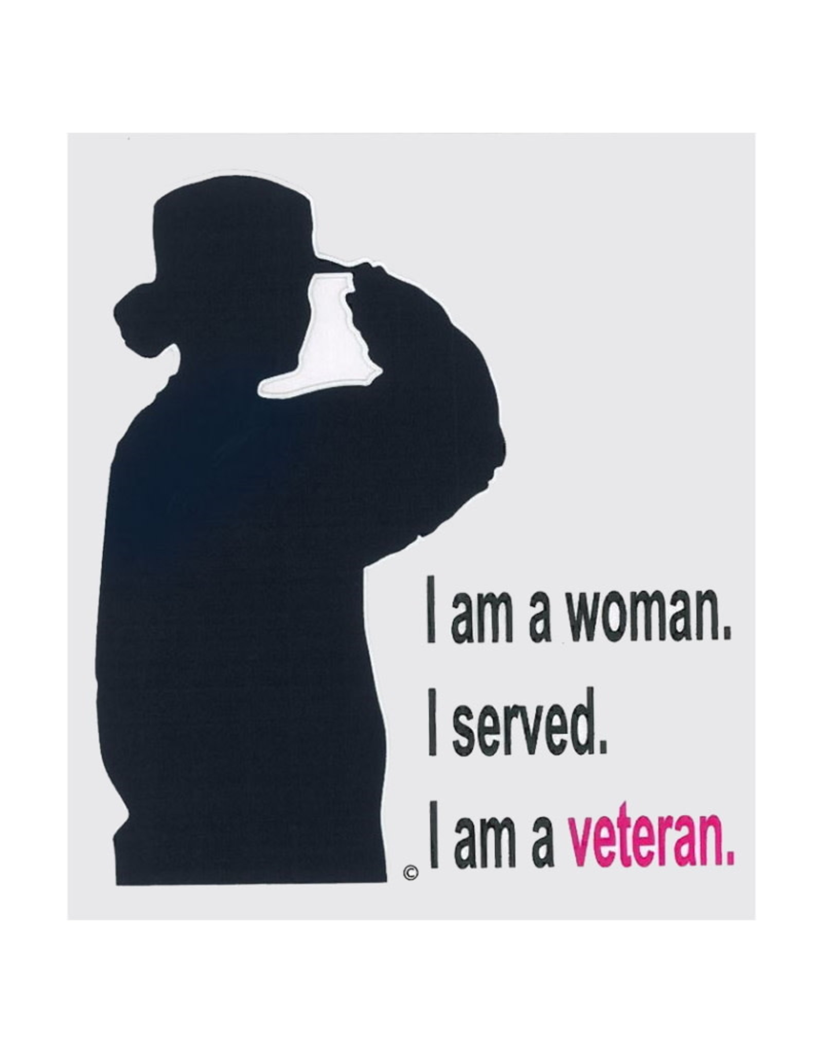 "MidMil Woman Veteran Saluting ""I am a woman. I served. I am a veteran"" Decal 3.2"" wide x 4.2"" high"