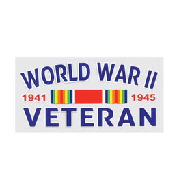 "MidMil World War II Veteran 1941 1945 Decal with Ribbon 4.5"" wide x 2.5"" high"