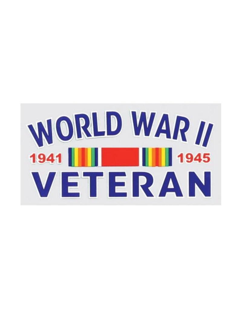 "MidMil World War II Veteran 1941 1945 Decal with Ribbon 4.5"" wide x 2.5"" high"