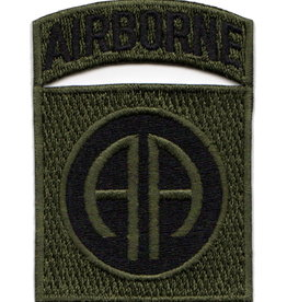 "MidMil Embroidered Subdued Army 82nd Airborne Patch 2.2"" wide x 3.1"" high Black on Olive Drab"