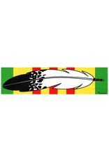 "MidMil Native Feather over Vietnam Service Ribbon Bumper Sticker 9.2"" wide x 2.3""high"