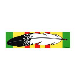 "MidMil Native Feather over Vietnam Service Ribbon Bumper Sticker 9.2"" wide x 2.3""high"