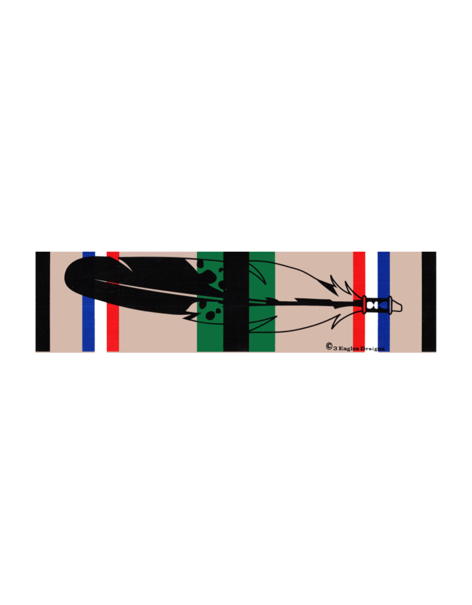 "MidMil Native Feather over Southwest Asia Service Ribbon Desert Storm Bumper Sticker 9.2"" wide x 2.3""high"