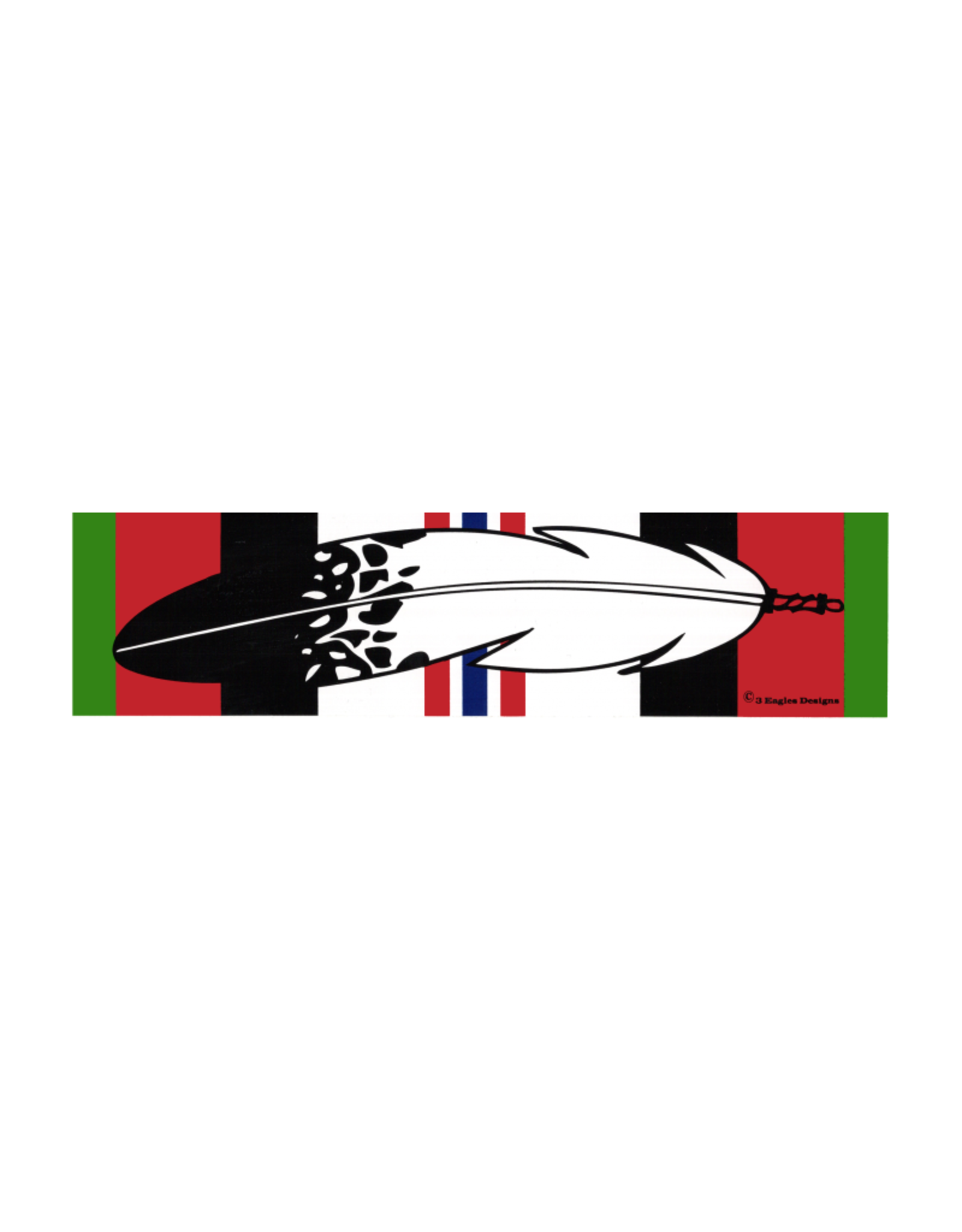 "MidMil Native Feather over Afghanistan Campaign Ribbon Bumper Sticker 9.2"" wide x 2.3""high"