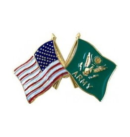MidMil American and Army Seal Flags Pin 1""