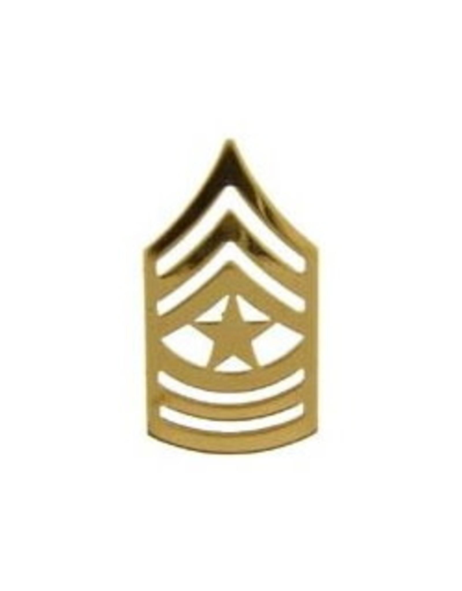 "MidMil Army Sergeant Major (E-9) Gold Rank Pin 1-1/4"""