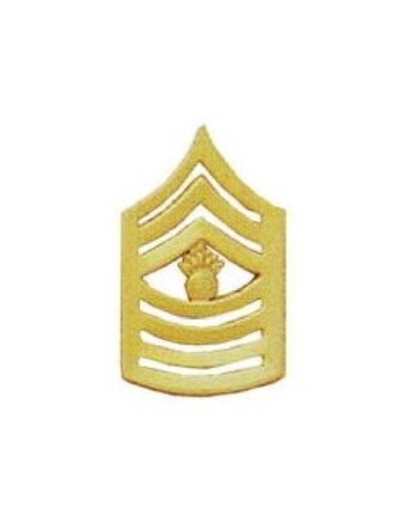 "MidMil Marine Corps Master Gunnery Sergeant (E-9) Gold Rank Pin 1-1/2"""