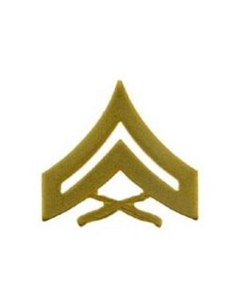 "MidMil Marine Corps Corporal (E-4) Gold Rank Pin 1-1/8"""