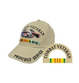 MidMil Army Vietnam Veteran Hat with Emblem and Ribbons Khaki