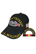 MidMil U. S. Military Combat Veteran Hat with  Emblem  Black