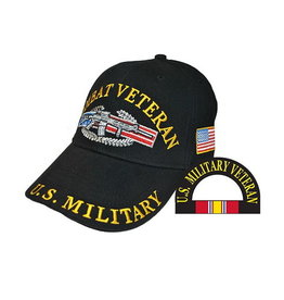 MidMil U. S. Military Combat Veteran Hat with  Emblem  Black