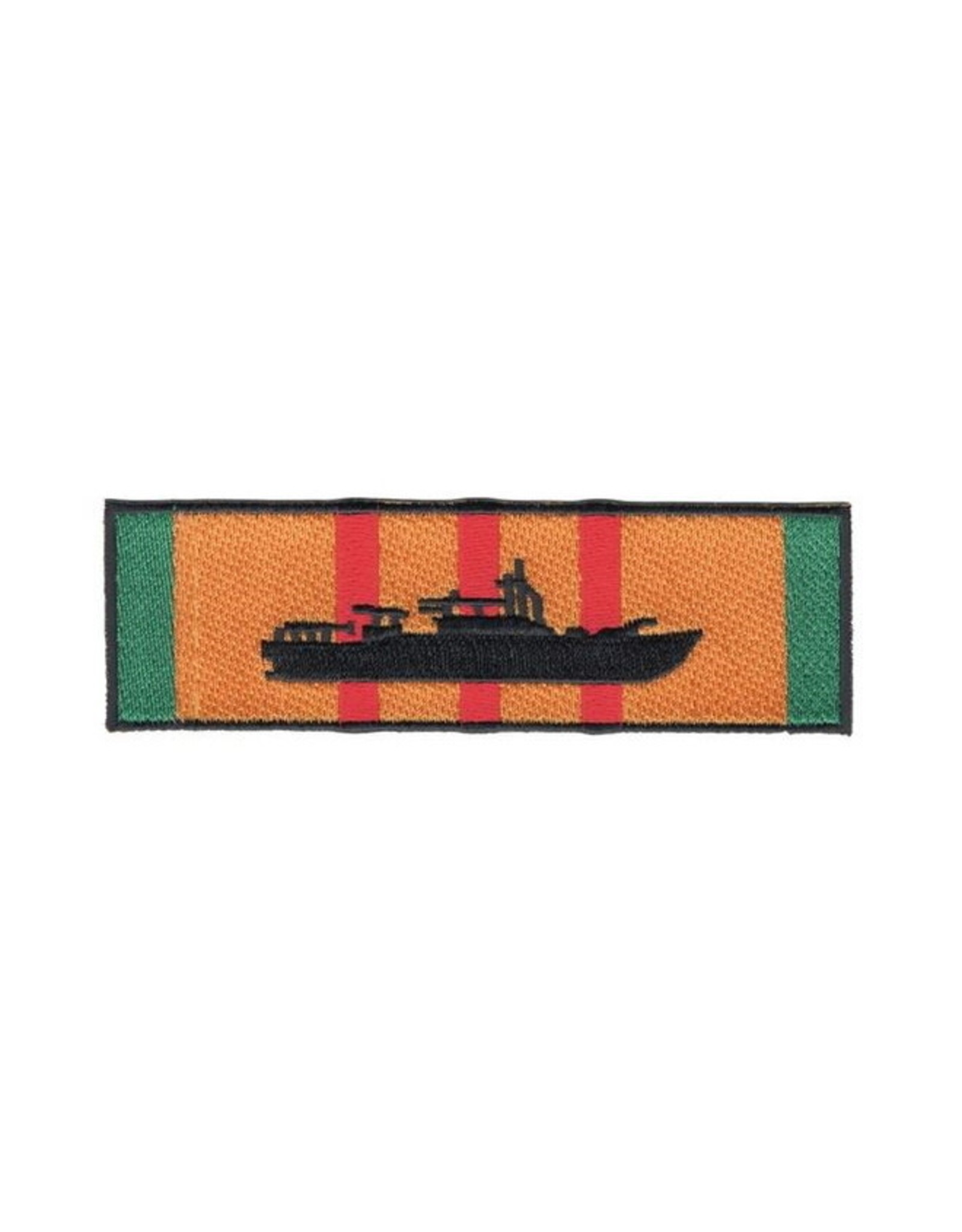 "MidMil Embroidered Patrol Boat River (PBR) on Vietnam Service Ribbon Patch 4.5"" wide x 1.4"" high"
