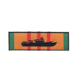 """MidMil Embroidered Patrol Boat River (PBR) on Vietnam Service Ribbon Patch 4.5"""" wide x 1.4"""" high"""