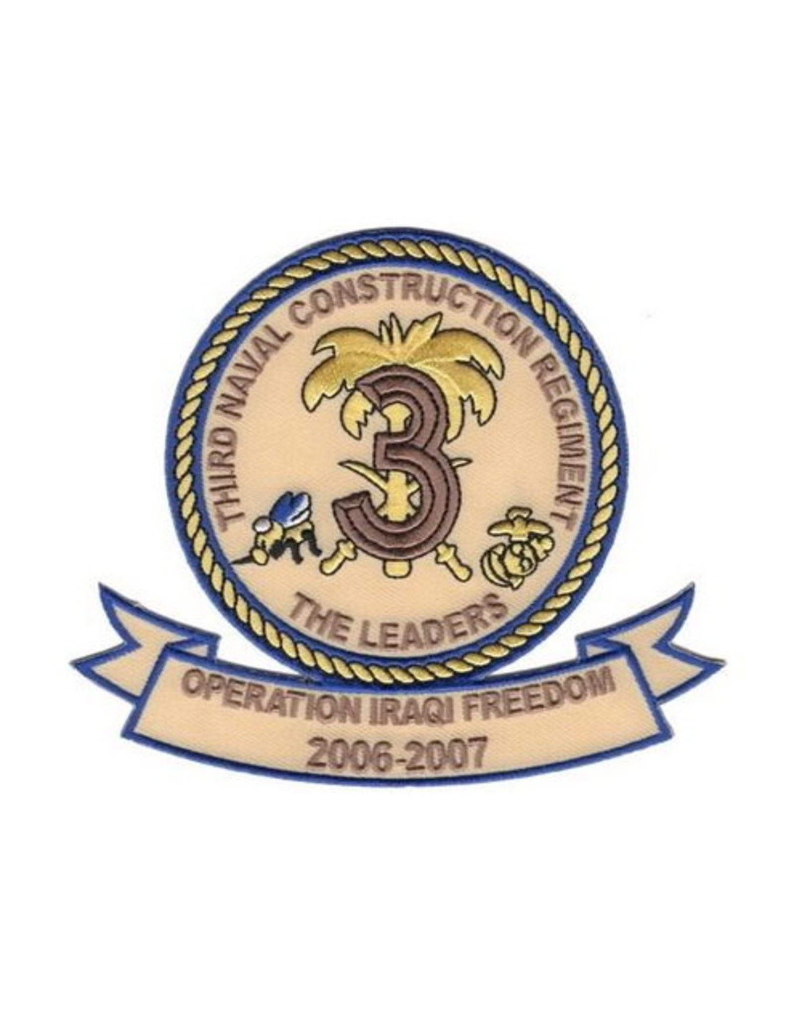 """MidMil Embroidered Third Naval Construction Regiment Operation Iraqi Freedom 2006-2007Patch 4.5"""" wide x 4.2"""" high"""