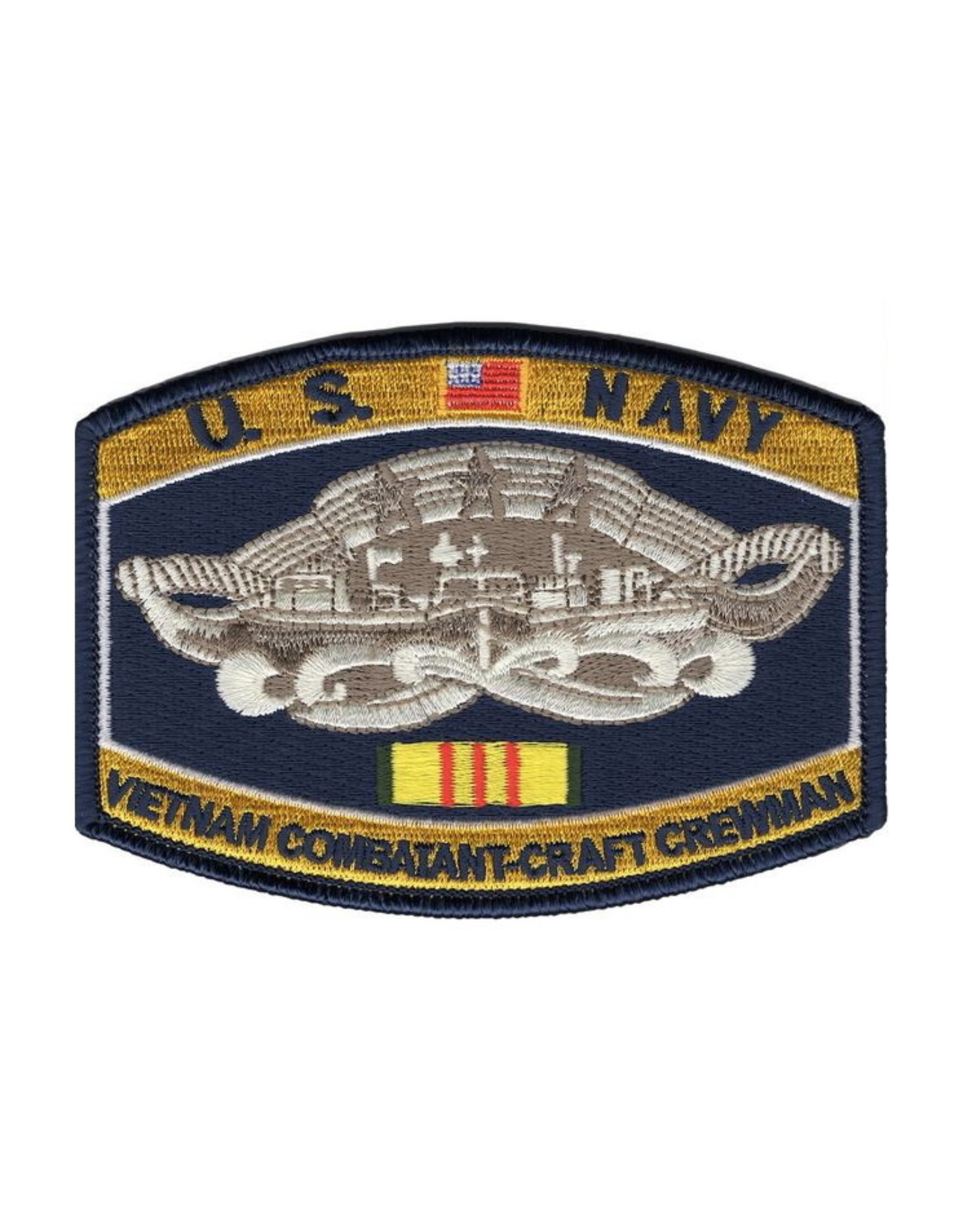 "MidMil Embroidered U.S. NavyVietnam Combatant-Craft Crewman Patch 4.5"" wide x 3.2"" high"