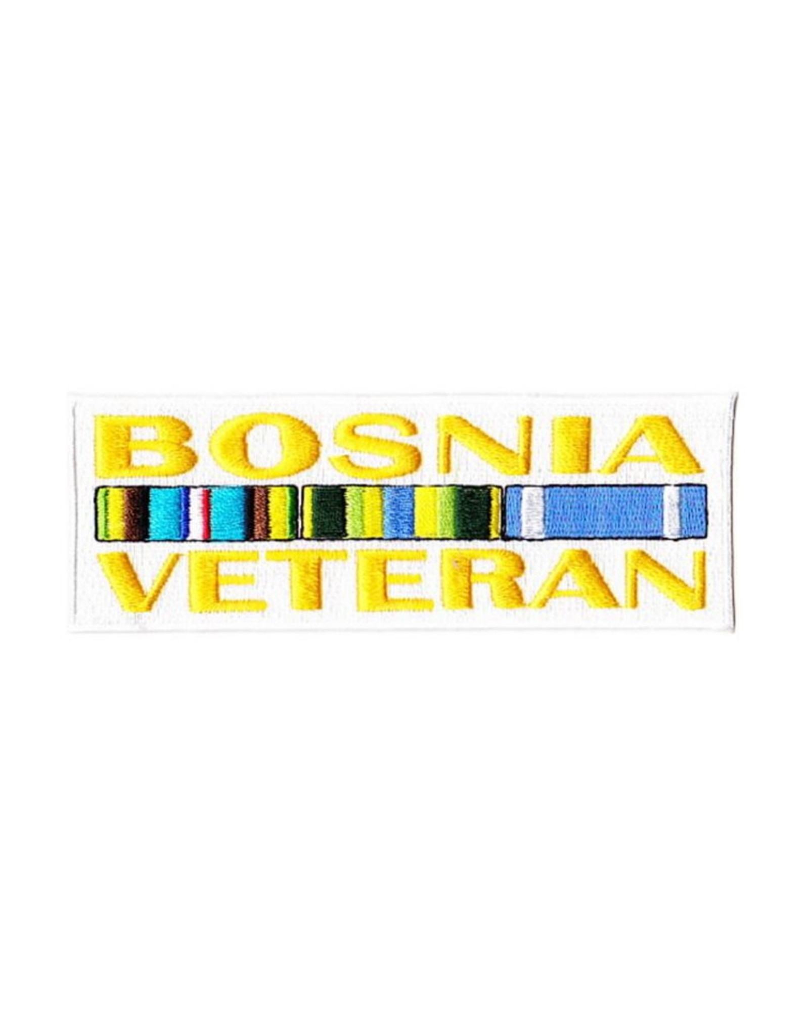 "MidMil Embroidered Bosnia Veteran Patch with Ribbons 5"" wide x 1.7"" high"
