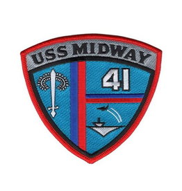 """MidMil Embroidered USS Midway CV-41 Crest Patch 4.5"""" wide x 4.2"""" high"""